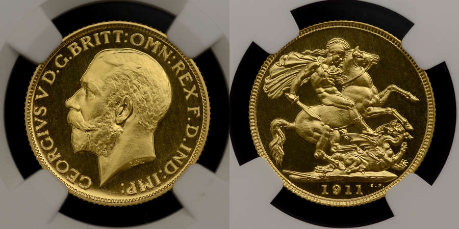 GEORGE V 1911 PROOF GOLD SOVEREIGN, PF 64+ CAMEO