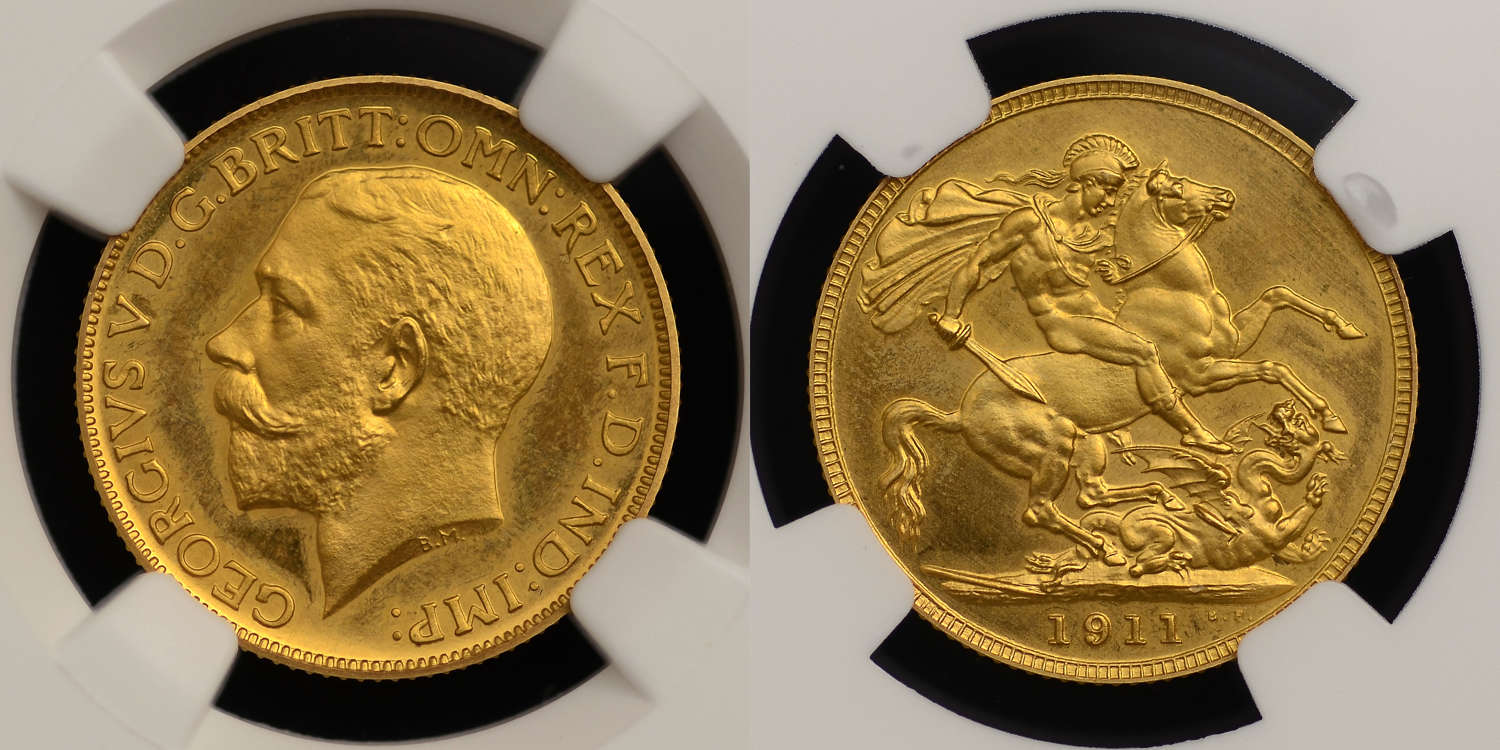 GEORGE V 1911 PROOF GOLD SOVEREIGN, PF 65+