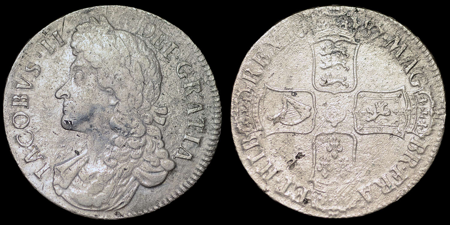 JAMES II, 1687 CROWN FROM HMS ASSOCIATION WRECK
