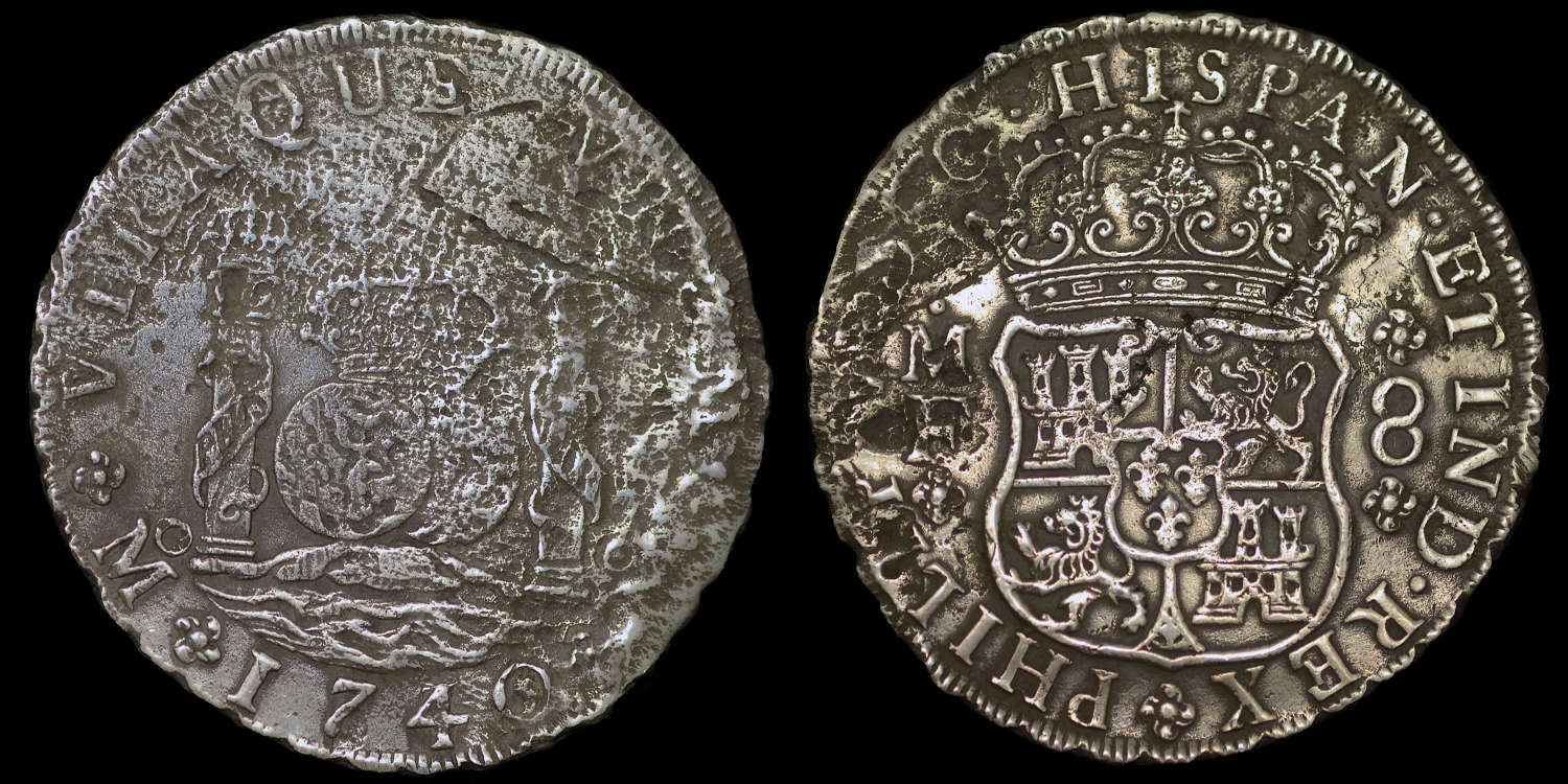 HOLLANDIA SHIP WRECK, 1740 8 REALES, MEXICO MINT