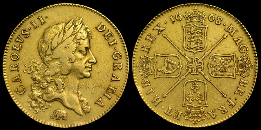 CHARLES II 1668 GOLD FIVE GUINEAS (FIRST YEAR ISSUE OF FIVE GUINEAS)