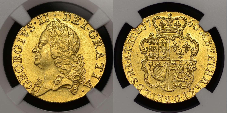 GEORGE II GOLD GUINEA, 1760, MS 61