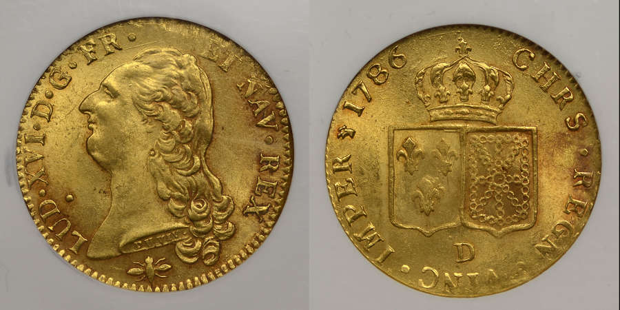 FRANCE, 1786-D GOLD DOUBLE LOUIS D'OR, LYON MINT