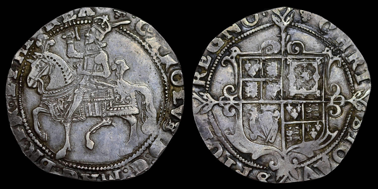CHARLES I SILVER HALFCROWN. TYPE 1A2