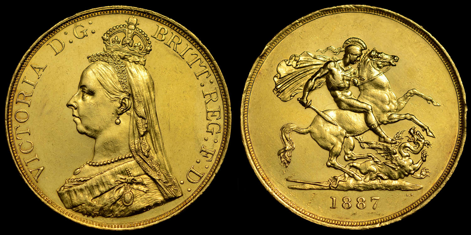 VICTORIA 1887 GOLD FIVE POUNDS