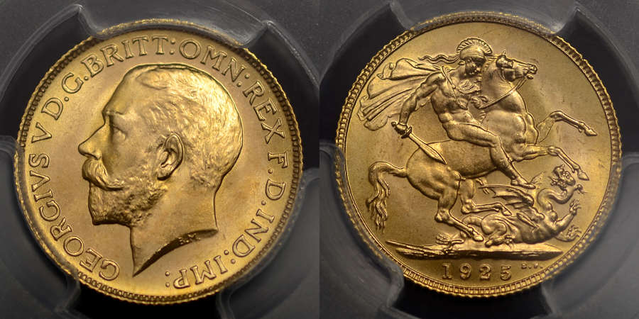 GEORGE V 1925 SOVEREIGN MS65