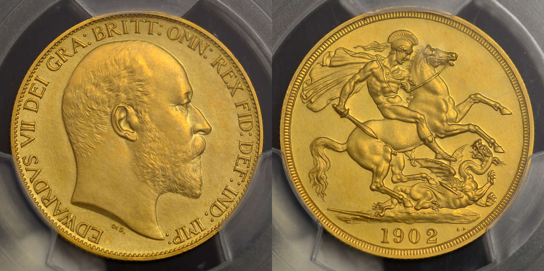 EDWARD VII 1902 GOLD MATT PROOF TWO POUNDS PR62