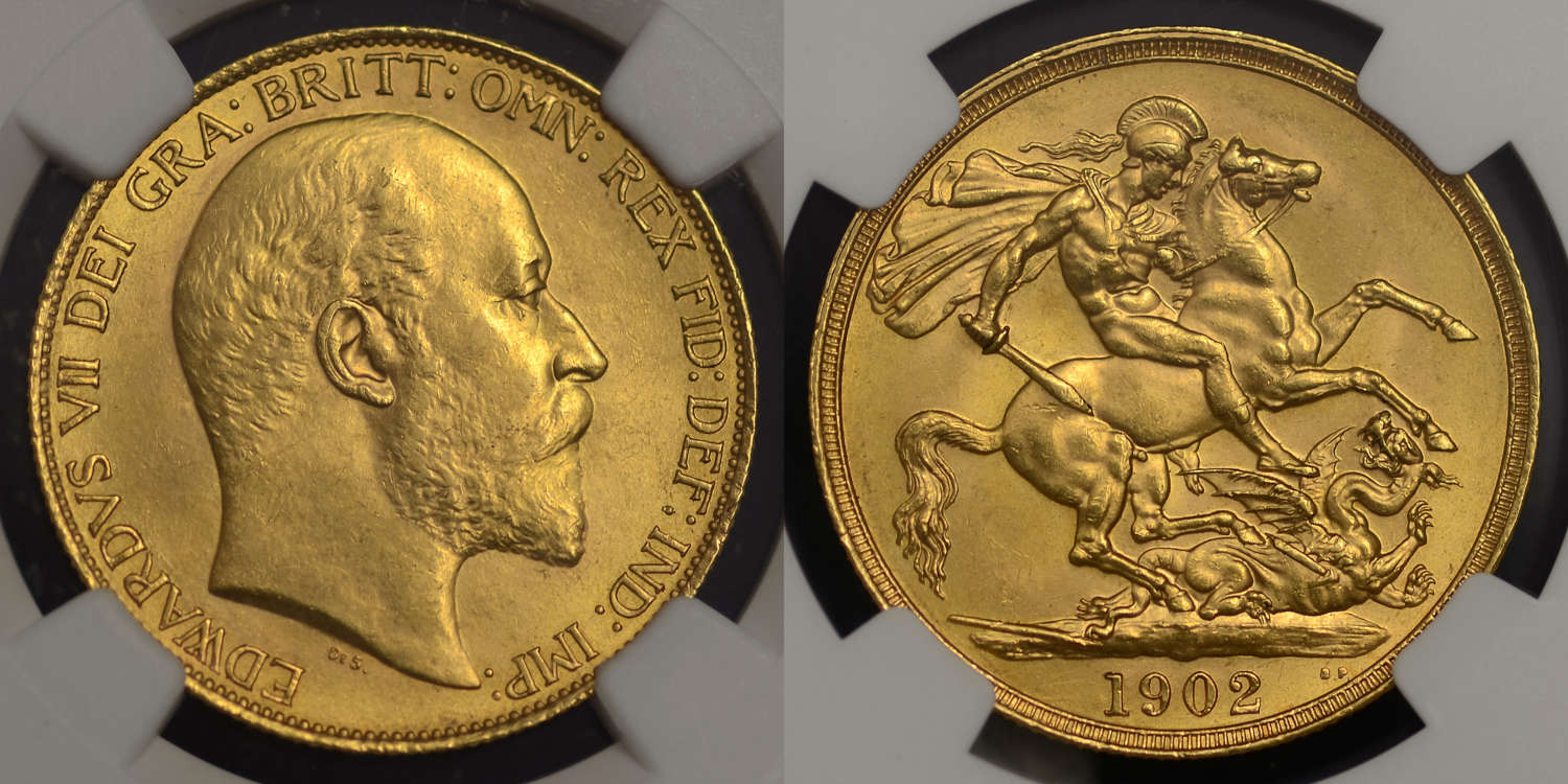 EDWARD VII 1902 CURRENCY ISSUE GOLD TWO POUNDS MS62
