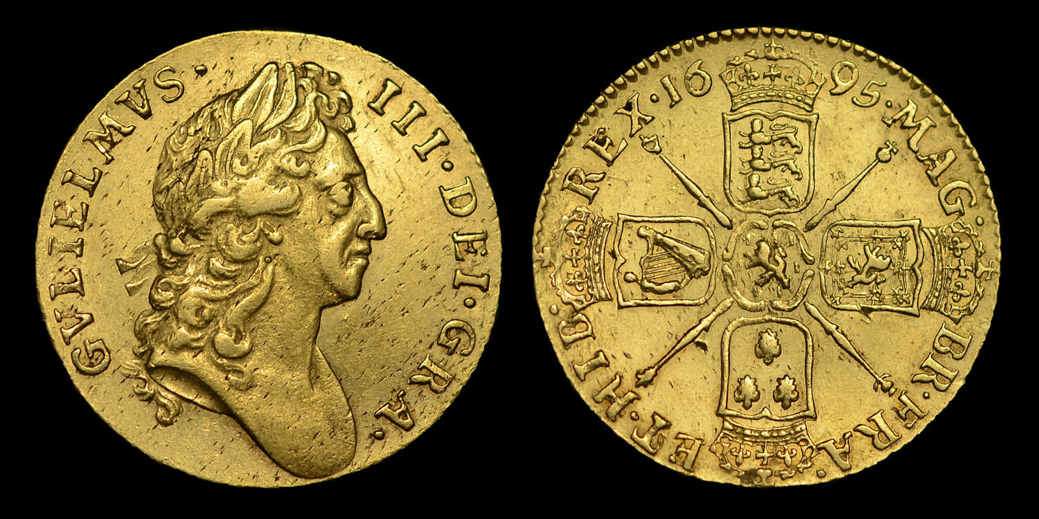 WILLIAM III 1695 GOLD GUINEA, FIRST BUST