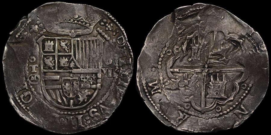 SPAIN, PHILIP II, SILVER EIGHT REALES, TOLEDO MINT AU53