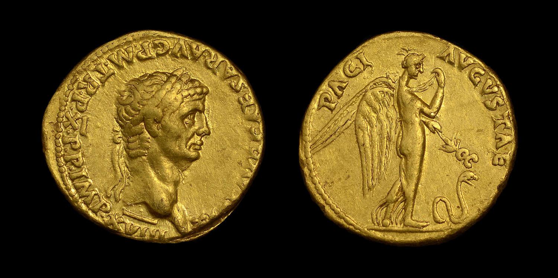 CLAUDIUS GOLD AUREUS, NGC CHOICE XF