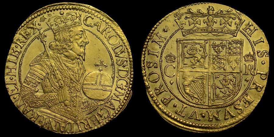 SCOTLAND, CHARLES I BRIOT GOLD UNIT, MS62* SECOND HIGHEST GRADED