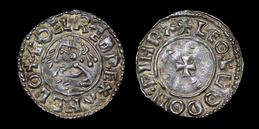 AETHELRED II PENNY WORCESTER, LAST SMALL CROSS TYPE