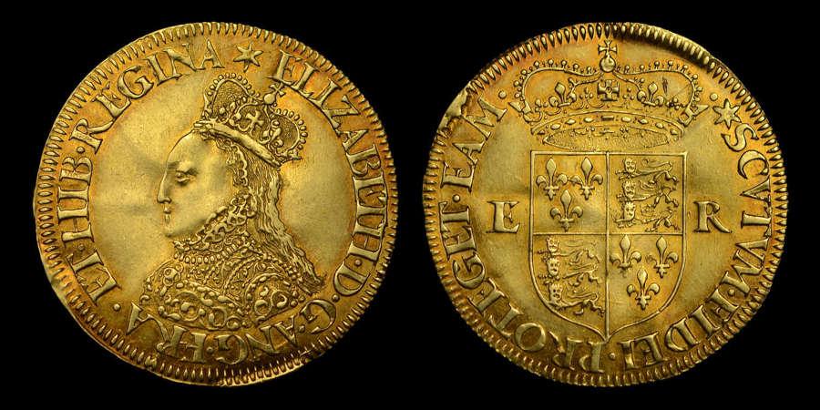 ELIZABETH I GOLD MILLED HALFPOUND, AU58