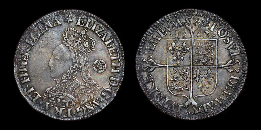 ELIZABETH I, 1562 SILVER SIXPENCE, MILLED ISSUE