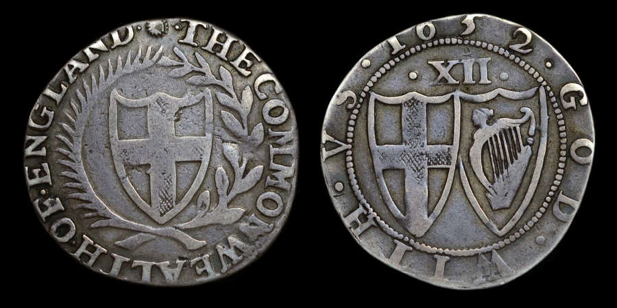 COMMONWEALTH 1652 SHILLING NO STOPS AFTER