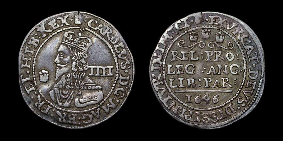 CHARLES I SILVER GROAT, 1646, BRIDGENORTH ON SEVERN MINT