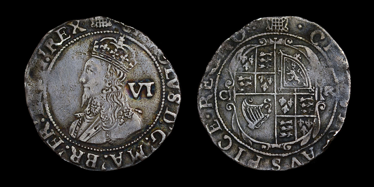 CHARLES I SIXPENCE, MM PORTCULLIS, EX BROOKER COLLECTION