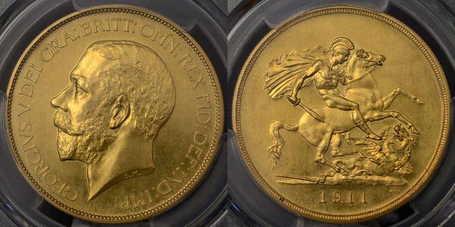 GEORGE V 1911 PROOF GOLD FIVE POUNDS PR 62