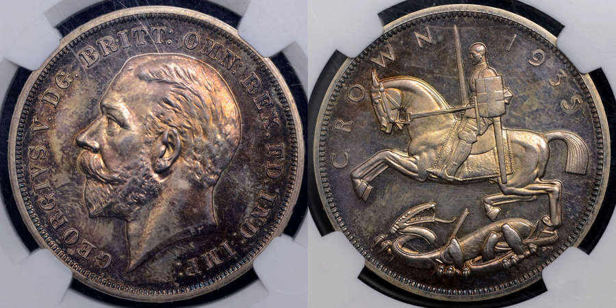 GEORGE V 1935 PROOF CROWN PF63