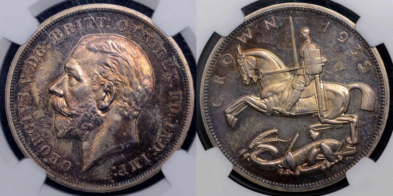 GEORGE V 1935 PROOF CROWN PF63