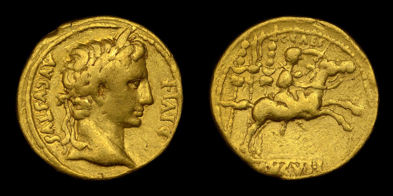 AUGUSTUS, GAIUS CAESAR ON CAMPAIGN GOLD AUREUS