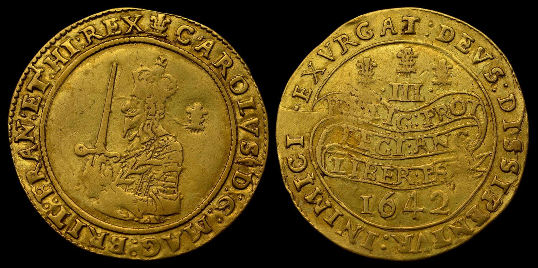 CHARLES I, 1642 GOLD TRIPLE UNITE