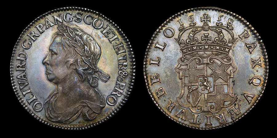 OLIVER CROMWELL 1658 SILVER HALFCROWN