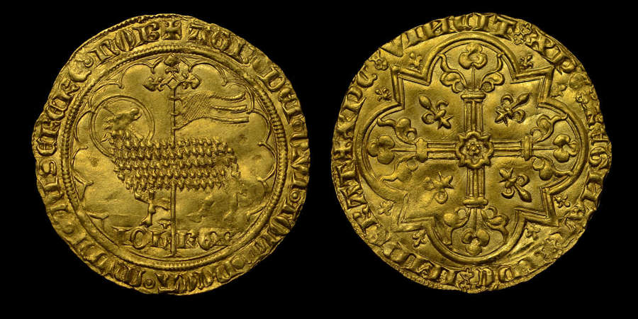 FRANCE, JEAN II LE BON HAMMERED GOLD MOUTON D'OR, MS 62