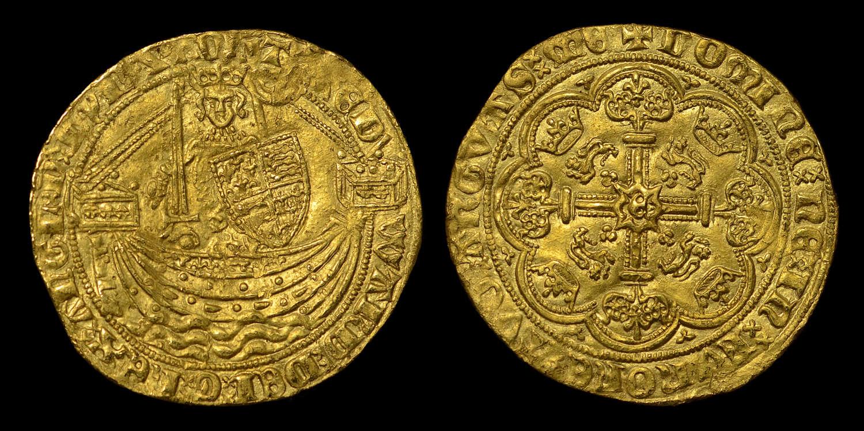 EDWARD III HAMMERED GOLD HALF-NOBLE, TREATY PERIOD MS 61