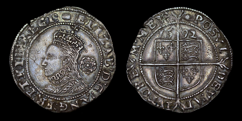ELIZABETH I 1592 SILVER HAMMERED SIXPENCE