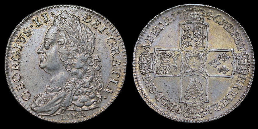 GEORGE II 1746 LIMA SILVER HALF CROWN