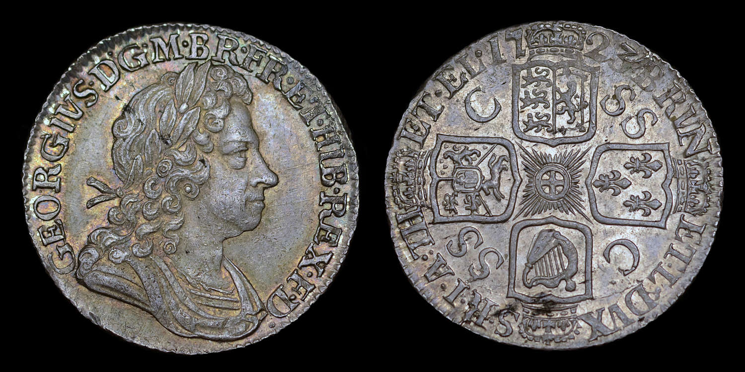 GEORGE I 1723 SSC SILVER SHILLING C OVER SS