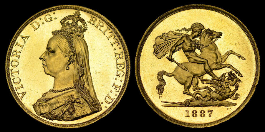 VICTORIA 1887 GOLD FIVE POUNDS, MS 62 (PROOF LIKE)