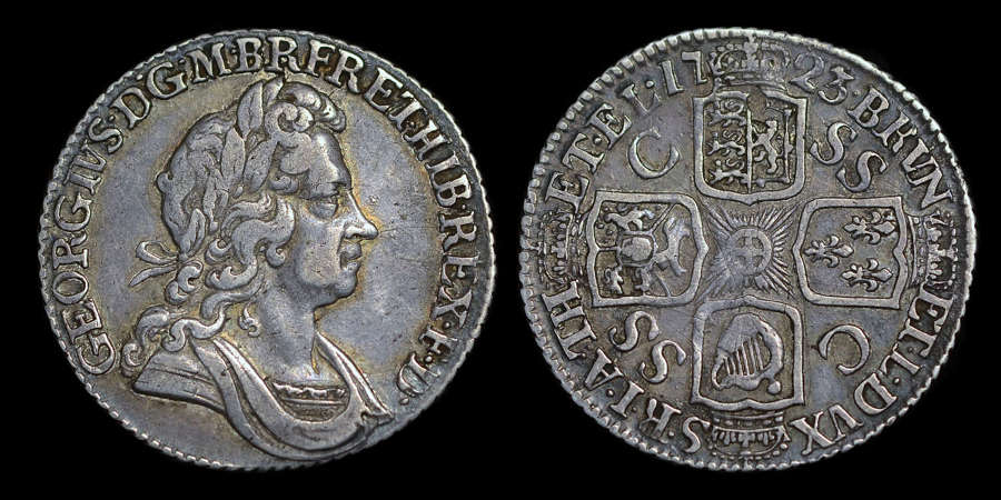 GEORGE I 1723 SSC SHILLING, SECOND BUST WITH LOOP TIE TO REAR OF HEAD