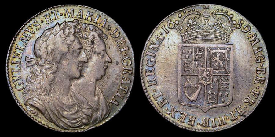 WILLIAM AND MARY 1689 HALFCROWN