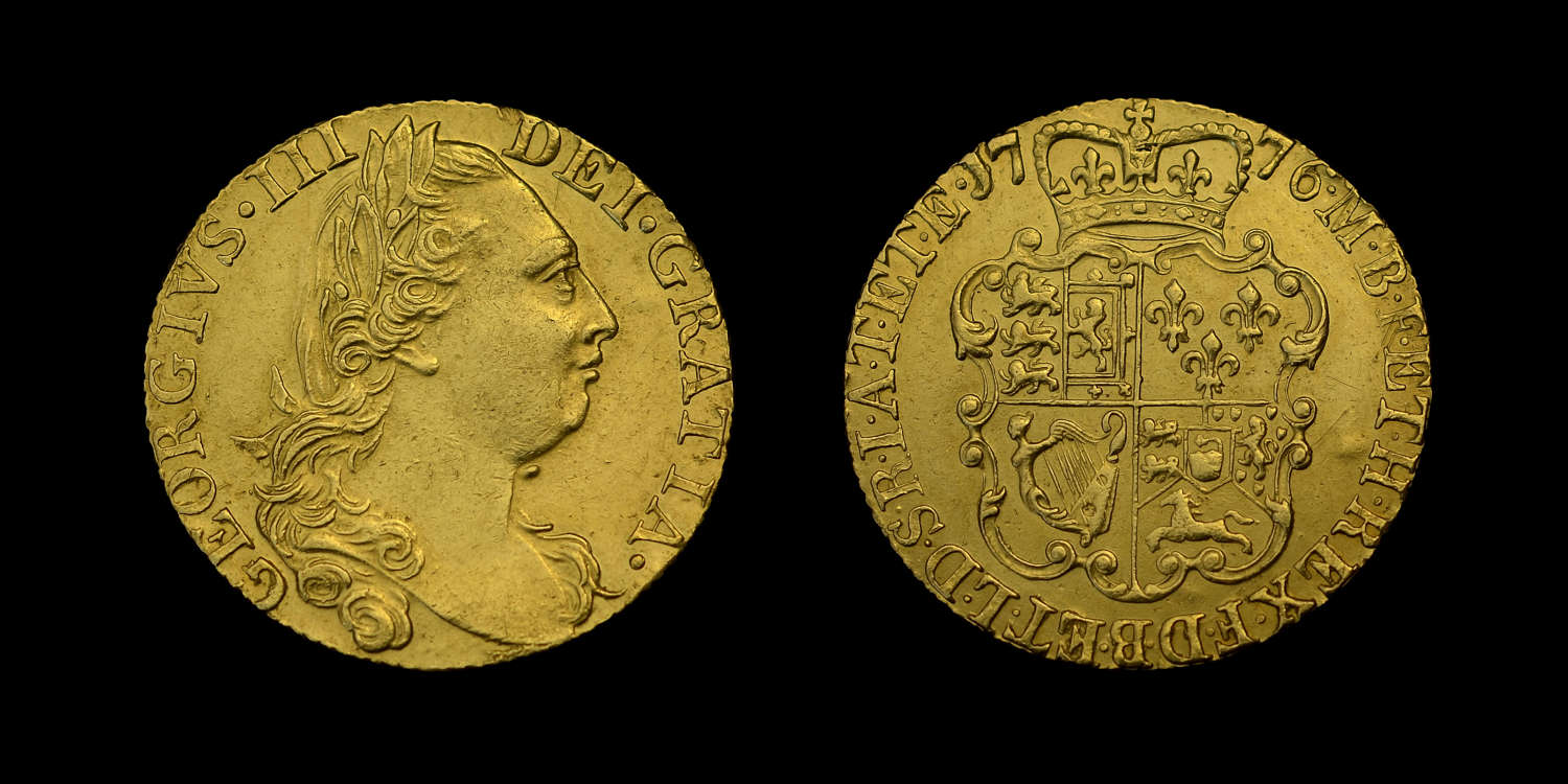 GEORGE III 1776 GOLD GUINEA, YEAR OF THE AMERICAN INDEPENDENCE