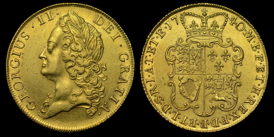 GEORGE II 1740 GOLD MILLED TWO GUINEAS, 40 STRUCK OVER 39