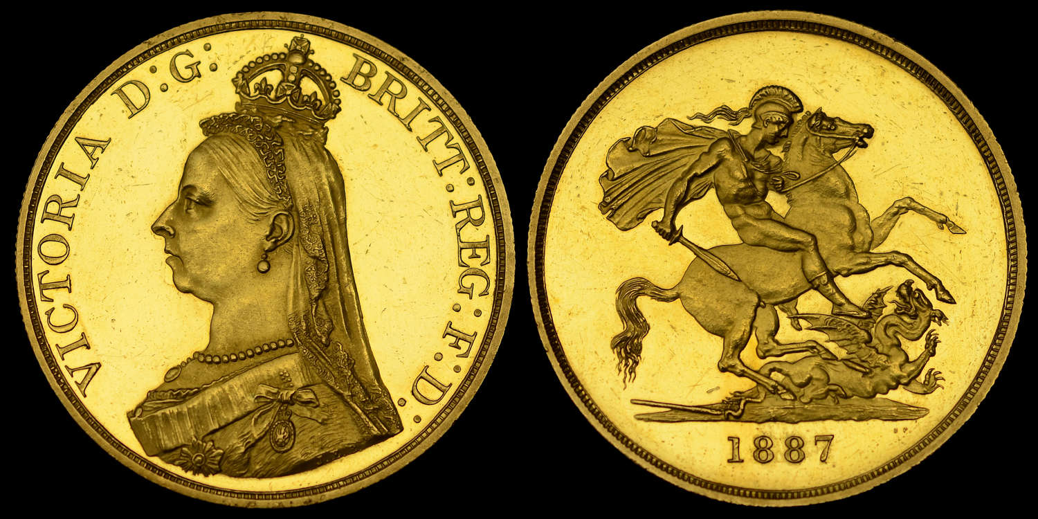 VICTORIA 1887 GOLD PROOF FIVE POUNDS, JUBILEE ISSUE