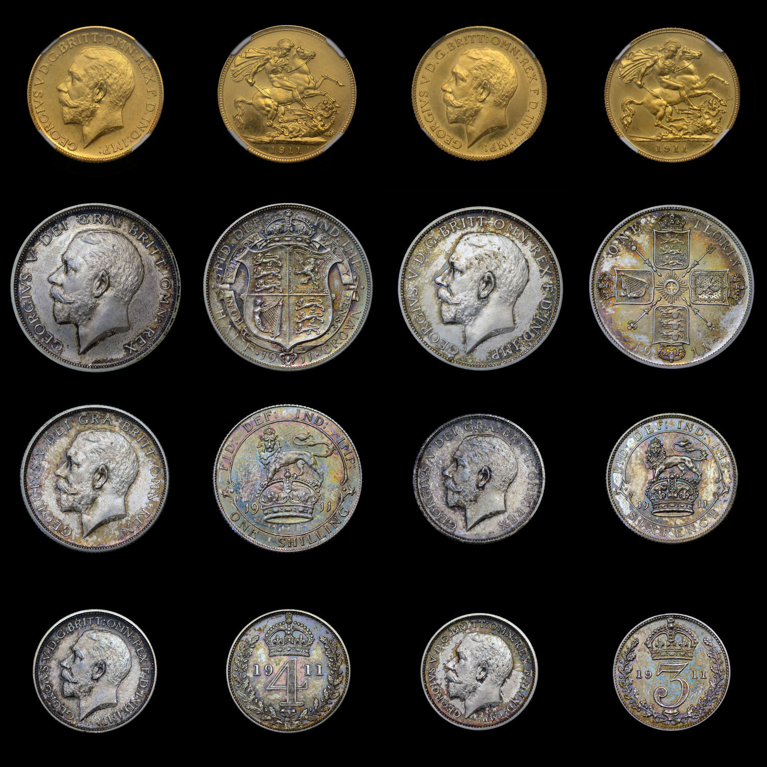 GEORGE V, 1911 GOLD AND SILVER PROOF SET, SOVEREIGN TO 1D