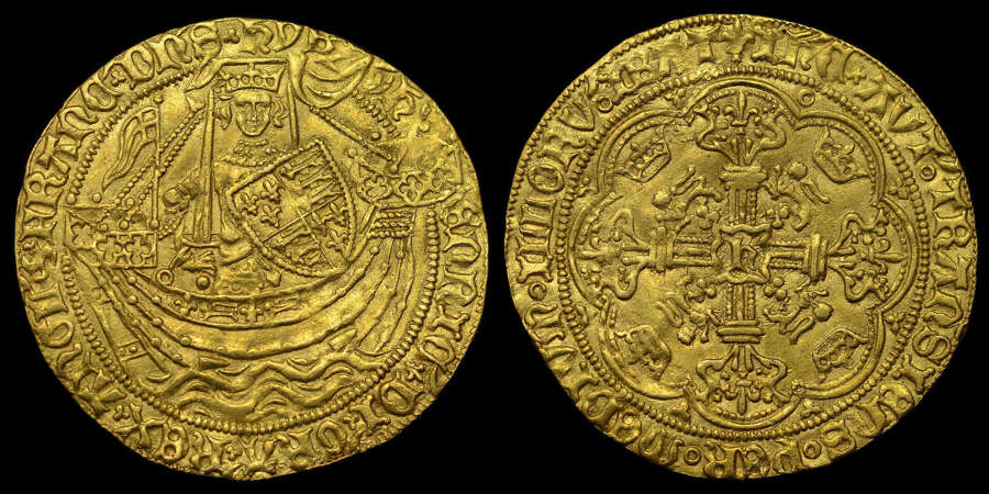 HENRY VI GOLD NOBLE, ANNULET ISSUE, CALAIS MINT MS 61